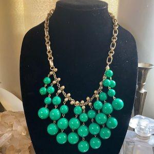 Stella & Dot Statement Kelly Green Beads Necklace